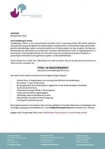Vacature Handtherapie Twente